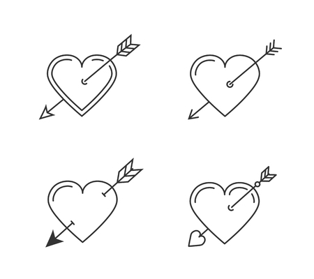 Hearts with arrows for Valentines day or wedding design, four line icons