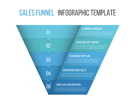 Funnel diagram, business infographic template Stock Illustratie