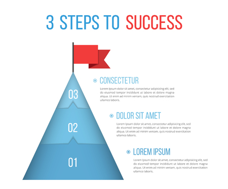 3 Steps to success, infographic template, vector eps10 illustration