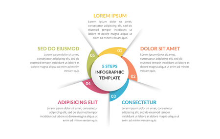 Circle diagram template with five steps or options, process chart, vector eps10 illustration
