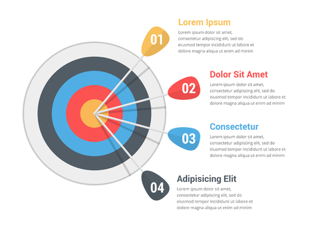 Target with four arrows with numbers and text, infographic template, vectpr eps10 illustration
