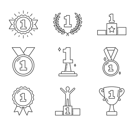 Line icons with number one, champion, winner, leader, success icons, vector eps10 illustration