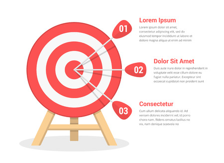 Target with three arrows, three steps to your goal, vector eps10 illustration 版權商用圖片 - 124892700