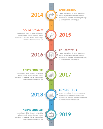 Vertical timeline template with icons, six elements, vector eps10 illustration