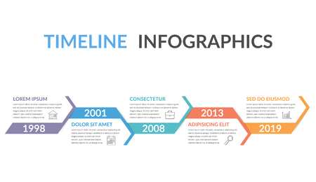 Timeline infographics template with arrows, workflow or process diagram Stock Illustratie