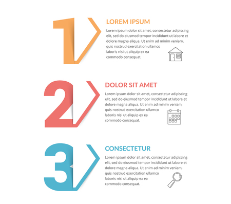 Three numbers with arrows and place for your text, three steps - infographic template