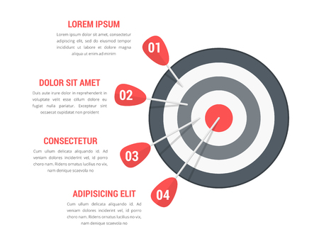 Target with four arrows with numbers and text, infographic template