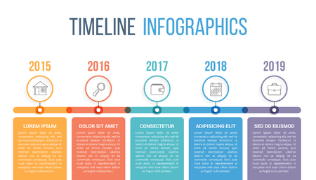 Horizontal timeline infographics template with colorful circles, workflow or process diagram Stock Illustratie
