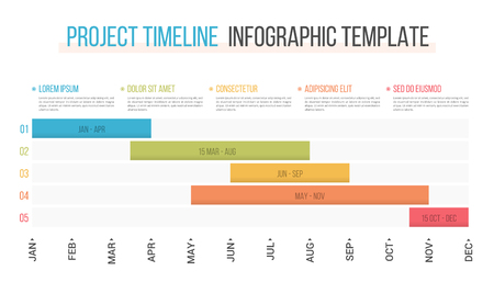 Project timeline with five stages, infographic template Stock Illustratie