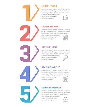 Five numbers with arrows and place for your text, five steps - infographic template, vector eps10 illustration