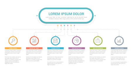 Infographic template with main title and 6 steps or options, workflow, process chart, vector eps10 illustration