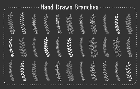 33 Hand drawn branches on white background, vector eps10 illustration