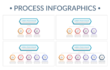 Four porcess infographic templates with 3, 4, 5 and 6 steps, vector eps10 illustration