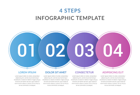 Infographic template with 4 circles with numbers, 4 steps infographics, workflow, process chart