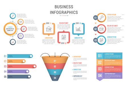 Six infographic templates for web, business, presentations - steps, options, funnel diagram, bar graph