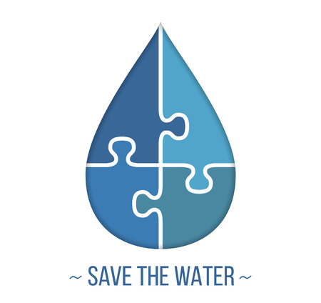 Abstract water drop made of puzzle pieces, save the water concept, vector eps10 illustration