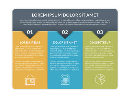 Infographic template with 3 elements for text and icons, can be used for web design, workflow layout, process chart, report, company milestones