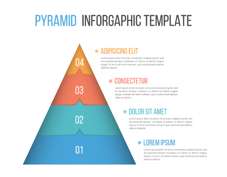 Pyramid infographic template with four elements Stock Illustratie