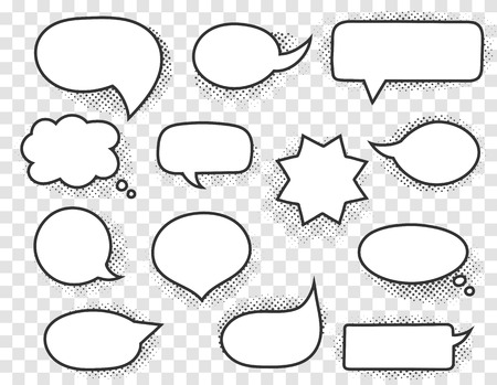 Hand drawn white speech bubbles with black stroke and halftone shadows