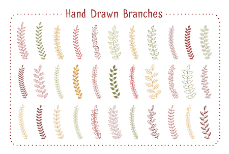 33 Colored hand drawn branches on white background, vector eps10 illustration Standard-Bild - 124429869