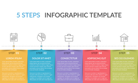 Infographic template with 5 steps, workflow, process chart Stock Illustratie