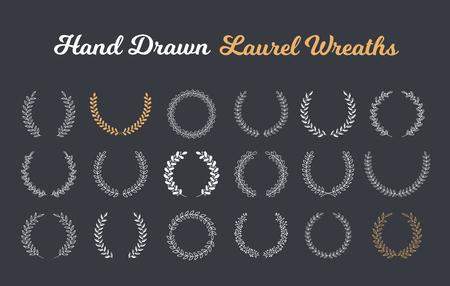 18 Hand drawn laurel wreaths on dark background