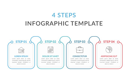 Infographic template with four squares with text and line icons, process diagram, workflow, four steps or options