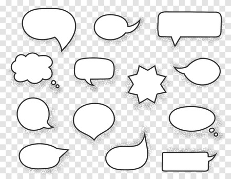 Hand drawn white speech bubbles with black stroke and shadow Stock Illustratie