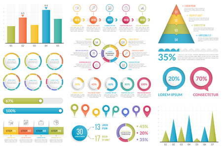 Set of infographic elements - bar chart, pyramid chart, circle diagram, timeline, steps and options