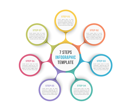 Circle diagram template with seven steps or options, process chart Stock Illustratie