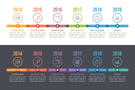Two timeline templates with colorful circles, workflow or process diagram, vector eps10 illustration Vetores