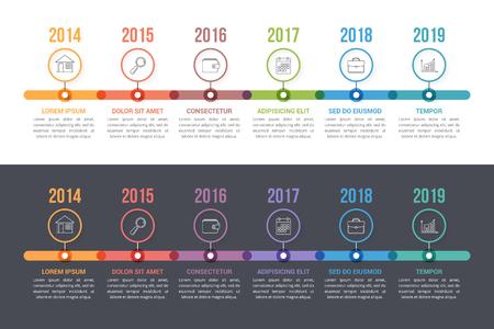 Zwei Timeline-Vorlagen mit bunten Kreisen, Workflow- oder Prozessdiagramm, eps10-Vektorillustration Vektorgrafik