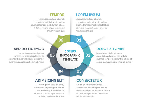 Circle infographic template with six steps or options, process chart, vector eps10 illustration