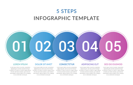 Infographic template with 5 circles with numbers, 5 steps infographics, workflow, process chart, vector eps10 illustration
