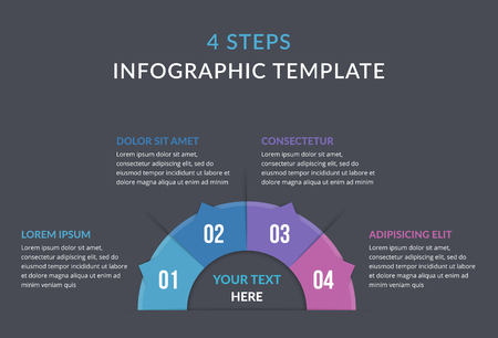 Circle infographic template with four steps or options, process chart, vector eps10 illustration Stock Illustratie