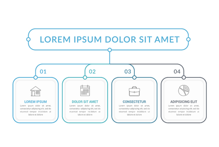 Infographic template with main title and 4 steps or options, workflow, process chart, vector eps10 illustration Stock Illustratie