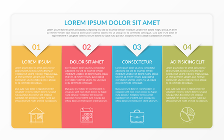 Infographic template with 4 elements for text and icons, can be used for web design, workflow layout, process chart, report, company milestones, vector eps10 illustration