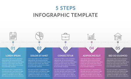 Infographic template with 5 steps, workflow, process chart, vector eps10 illustration Stock Illustratie
