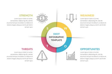 SWOT analysis, circle diagram, infographic template, vector eps10 illustration Ilustração