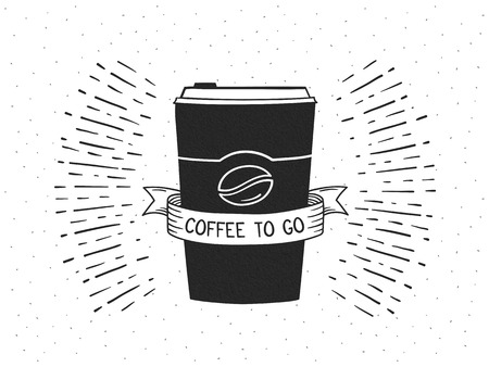 Hand drawn take away coffee cup with ribbon on retro background with sunburst, vector eps10 illustration