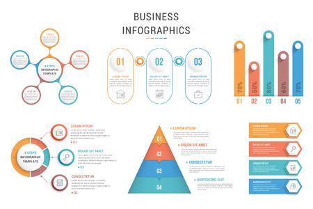 Seis plantillas infográficas para web, negocios, presentaciones: gráficos de proceso, diagramas circulares, pirámide, gráfico de barras, ilustración vectorial eps10