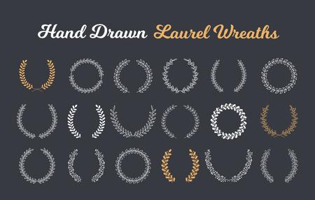 18 Hand drawn laurel wreaths on dark background, vector eps10 illustration Stock Illustratie