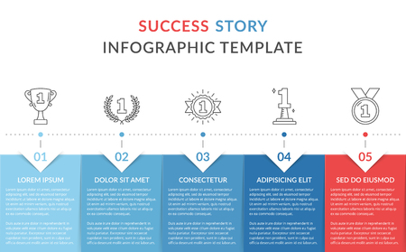 Success story with line icons, timeline infographics template, vector eps10 illustration