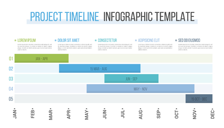 Project timeline with five stages, infographic template, vector eps10 illustration