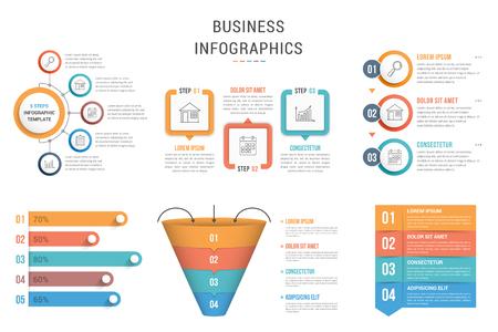 Six infographic templates for web, business, presentations - steps, options, funnel diagram, bar graph, vector eps10 illustration Stock Illustratie