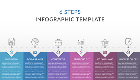 Infographic template with 6 steps, workflow, process chart, vector eps10 illustration