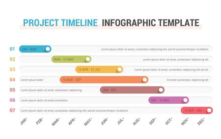 Diagrama de Gantt, cronograma del proyecto con siete etapas, plantilla infográfica, ilustración vectorial eps10