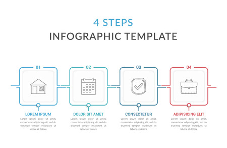 Infographic template with four squares with text and line icons, process diagram, workflow, four steps or options, vector eps10 illustration