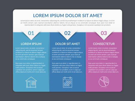 Infographic template with 3 elements for text and icons, can be used for web design, workflow layout, process chart, report, company milestones, vector eps10 illustration Stock Illustratie