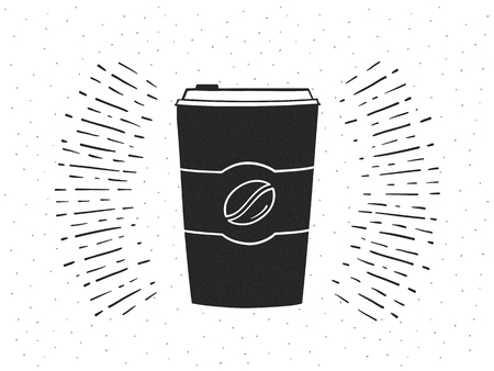 Hand drawn take away paper coffee cup on retro background with sunburst Stock Illustratie